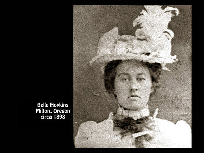 Elmer Hopkins' sister Belle in about 1898 in Milton, Oregon.