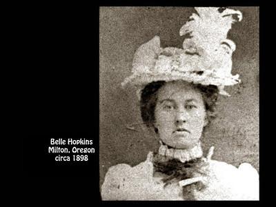 Elmer Hopkins' sister Belle in about 1898 in Milton, Oregon.