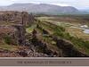 Looking down the main fault, crevice, or rift at þingvellir, Almannagjá.  The distant flagpole marks the historic Lögberg (Law Rock).