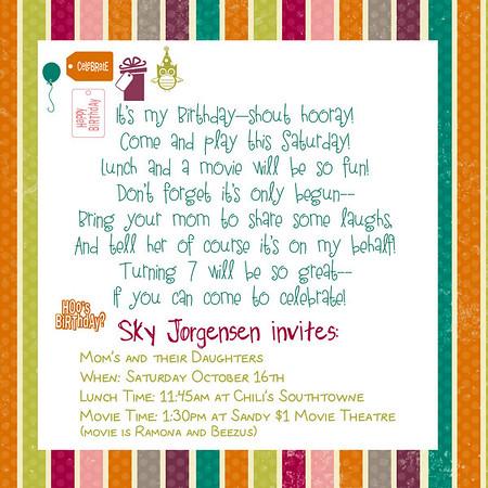 Sky's 7th Birthday Party Invite