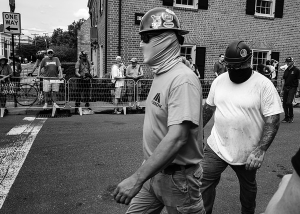 Riggers who removed Stonewall Jackson statue from the park in Charlottesville, Virginia.