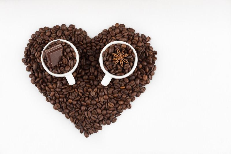 Espresso cups in heart