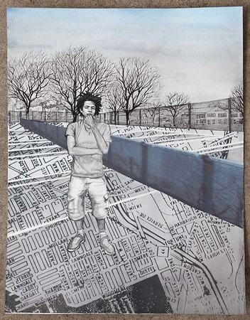 "Phill, 2015. Ink, gouache, map of Delray on archival paper, and collaged photograph of fence in Delray. 16 3/8 x 12 ½ in.  ""Phill is a mentor and guitar teacher who is an all-around amazing guy. He does it all on top of studying to be an architect. He rides his bike 15 minutes each way to get to school at Henry Ford Community College. A lot of kids move out of Southwest Detroit once they get older, but he's stayed and he gives back a lot."" —Pastor John, Grace in Action"