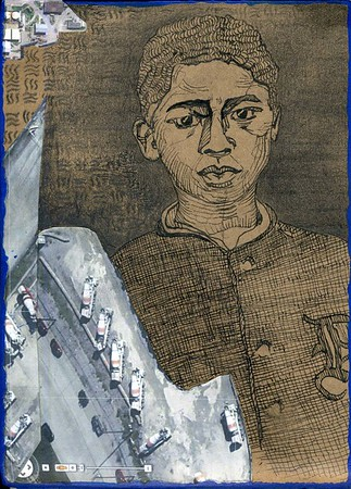 Detroit Boy, 2013. Pen, pencil, and satellite view printout on cardboard. Based on a portrait by Dave Jordano.