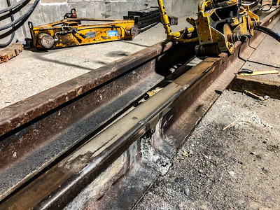 Exothermic Welding at Expo/Crenshaw Station - Partially ground and polished joined rail