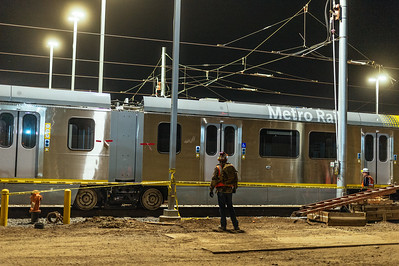 First rail cars in new Crenshaw/LAX Line's Southwestern rail yard.