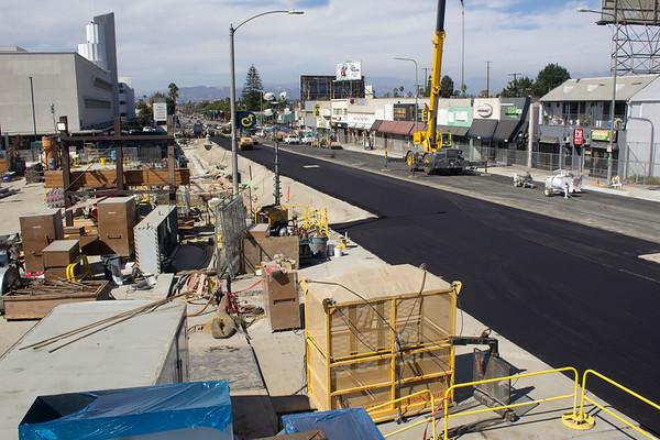 Repaving of Crenshaw Boulevard near Martin Luther King, Jr. Station, Aug. 2018