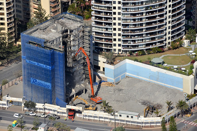 Iluka Beach Resort - High Reach Demolition & Top Down Demolition methodologies. Surfers Paradise, Gold Coast Australia 2014.