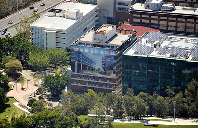 Photo of QUT L block, before structural demolition commences.