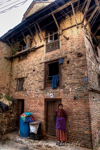 Old lady outside her house in Bungamati.