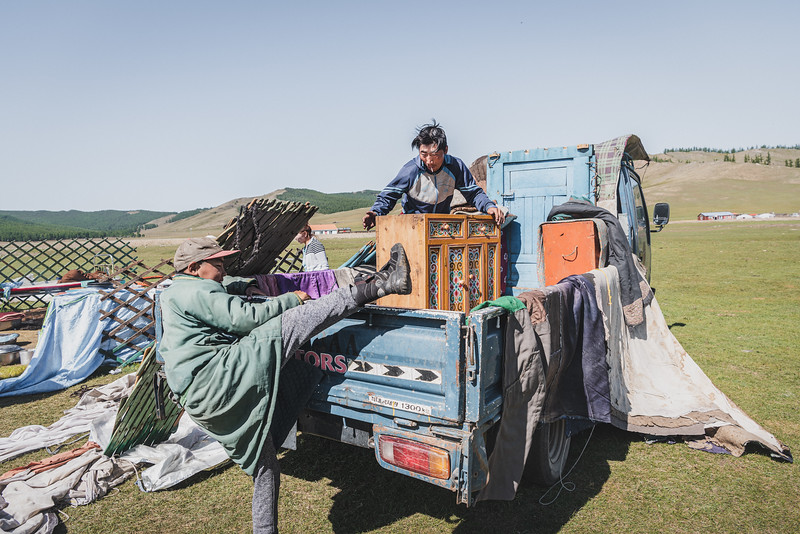 Mongolia, Arhangaj, 2019. A nomad family is loading the tent and his belongings on the truck and it is going to leave to Ulan Bator.