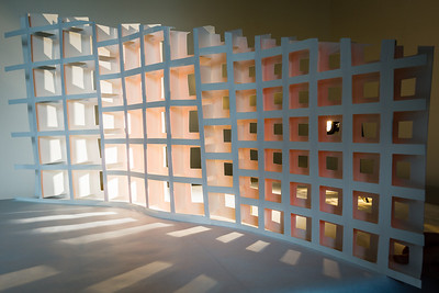 2nd Semester, U-of-U, Design Project, Light & Shadows. This is two pieces of heavy paper, complementarily cut so that the front piece tucks into the back. There are also day-glo orange strips attached to the back of the front piece of paper, giving the orange hue when backlit.. Ethan is at work, but wanted photos of his latest project, so... 3-Mar-12