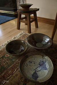 Ethan is in his 2nd year at the U. He turned & glazed these four bowls in the 1st semester. 6-Nov-11