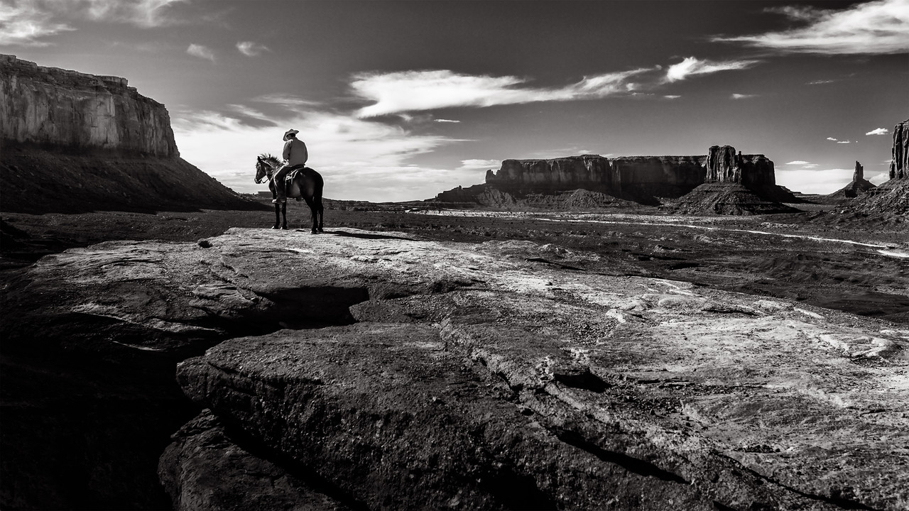 Navajo cowboy at John Ford Point in Monument Valley, Utah