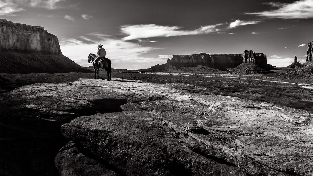 Navajo cowboy at John Ford Point in Monument Valley, Utah