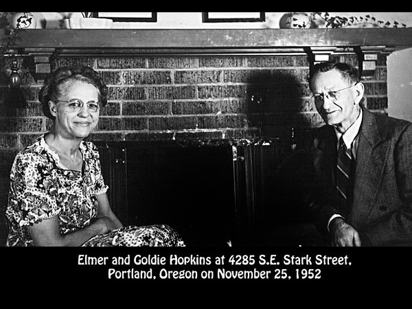 Elmer and Goldie Hopkins, 25 November 1952, Portland, Oregon.