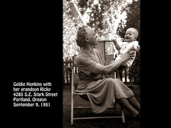 Goldie and Rick Hopkins at 4285 S.E. Stark Street, Portland, Oregon on 9 September 1951.