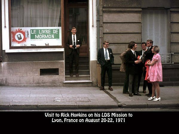 Elder Rick Hopkins in front of the LDS Church with his missionary companions and Ellen Hopkins in Lyon, France on 20 August 1971.