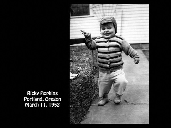 Ricky Hopkins toddling along at 4285 S.E. Stark Street, Portland, Oregon on 11 March 1952.