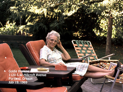 Goldie Hopkins at 1120 S.W. Hillcroft Avenue, Portland, Oregon on 19 July 1969.