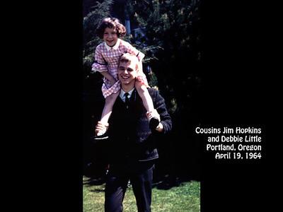 Jim Hopkins with cousin Debbie Little at 1120 S.W. Hillcroft Avenue, Portland, Oregon on 19 April 1964.