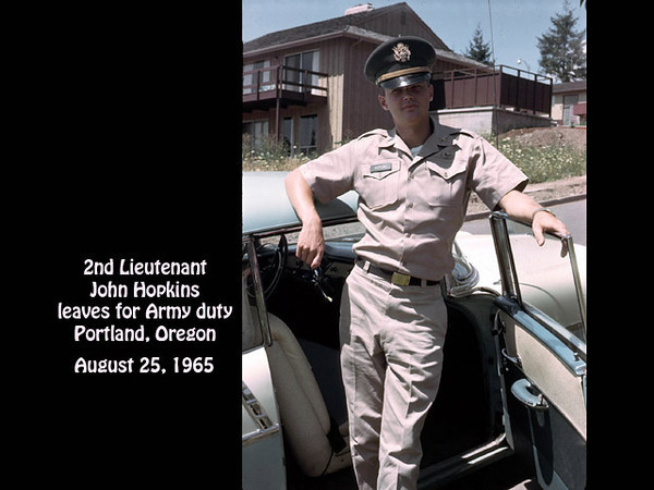 2LT John S. Hopkins about to leave for U.S. Army active duty, on the way to Fort Benning, Georgia for parachute training in his 1956 Chevrolet. 1120 S.W. Hillcroft, Portland, Oregon on 25 August 1965.