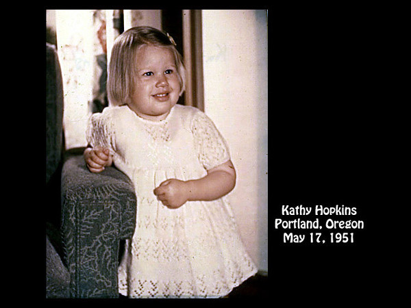 Kathy Hopkins at 4285 S.E. Stark Street, Portland, Oregon on 17 May 1951.