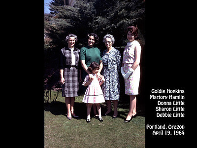 Goldie Hopkins, Donna, Sherry and Debbie Little, and Marjory Hamlin at 1120 S.W. Hillcroft Avenue, Portland, Oregon on 19 April 1964.