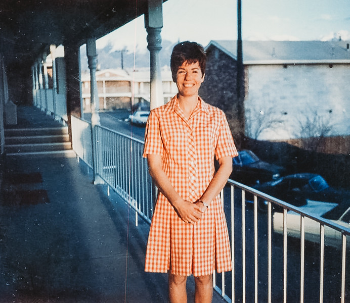 """""""Mary in Salt Lake, just before going to Hawaii."""" 1968"""