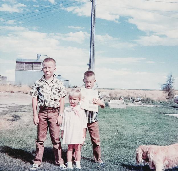 """Jeff, Kirk, Ellen and Daisy outside."" -October 1967"