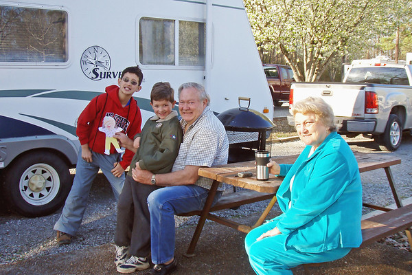 Friday, March 20 -   This week, Grandpa David and Grandma Pat (who live in Monroe) are camping about 30 miles from the LeGrand Family's home with some of their friends.  Wow!  What a surprise to see them.  Yeah!  It's Spring Break.  Since they didn't have to go to school today, Ethan and Aaron camped out with Grandpa David and Grandma Pat last night.