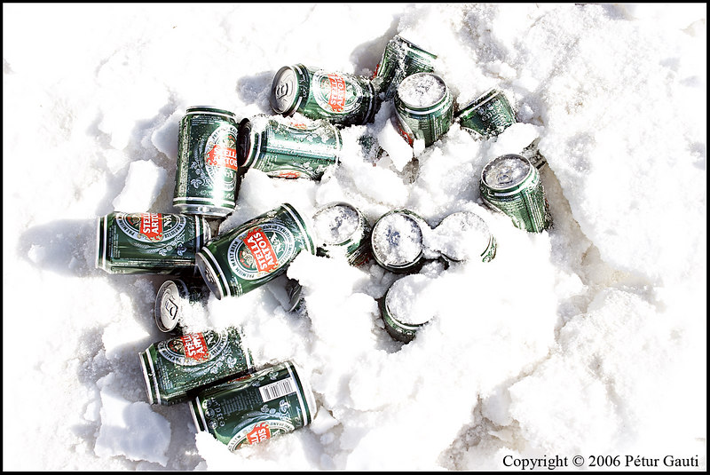 Stella Artois. <br /> Well, maybe not reall found, sice I dug a hole for the beercans and scattered snow over them, but cool anyhow. :)
