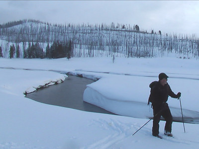 Phil Knight cross country skis near the headwaters of the Gallatin River in Yellowstone National Park