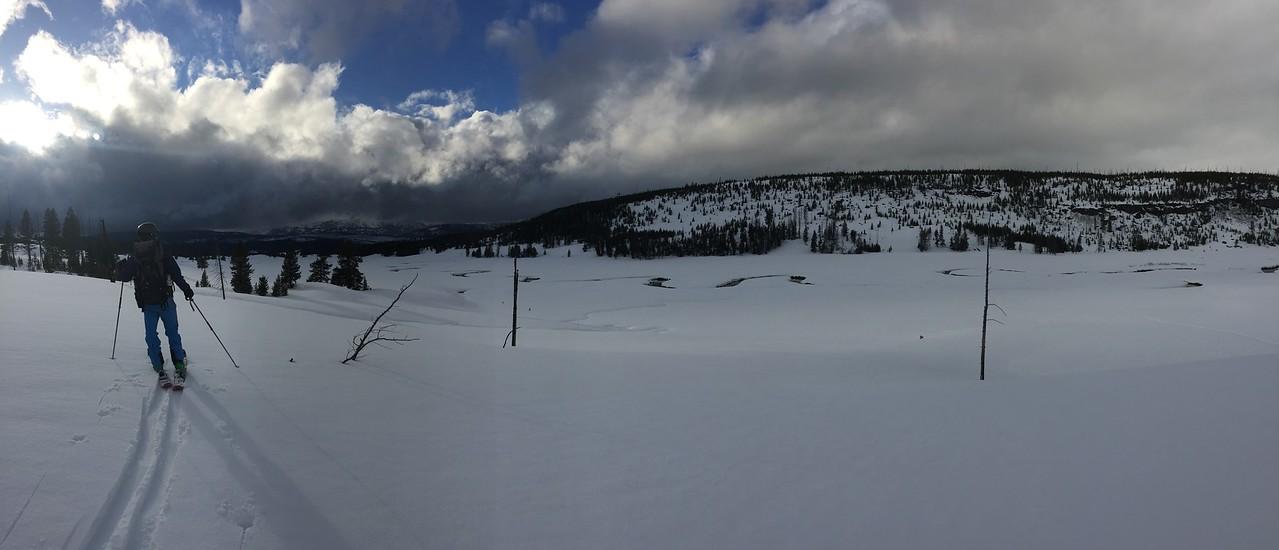 Zac Ferry and Michael Stone sampling near Bighorn Pass, YNP.<br /> Photo: ?