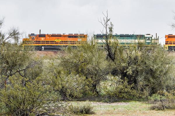 Arizona & California (ARZC) engines, a Genesee & Wyoming Inc. railroad, Morristown, AZ (Feb 2019)