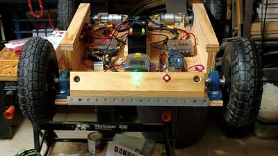 GoBot w 30 degree pitch sensors, Lit Brake switch, strapped down battery, etc