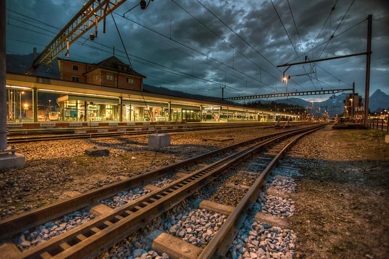 Golden Trainstatin in Goldau, Switzerland