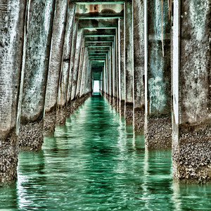 Underneath Naples Pier at noon