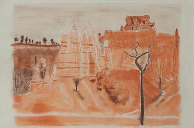 """Landscape  Copying color photo; sanguine and brown conté sticks on Canson Ingres paper; 9 5""""x12"""