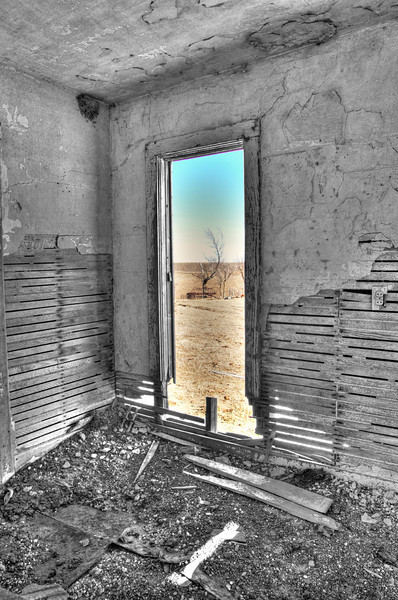 Front window view, abandoned home, Miller, NE (Nov 2012, HDR)