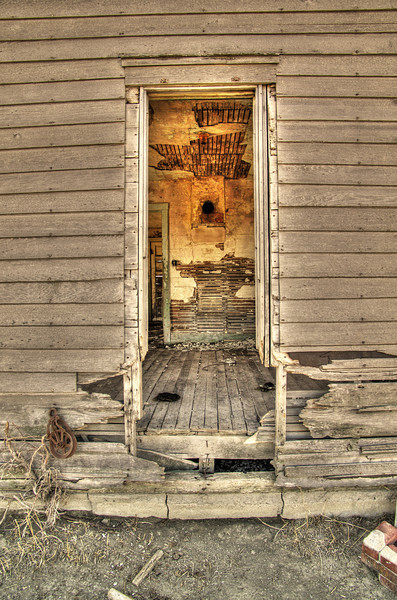 Back entry, abandoned home, Miller, NE (Nov 2012, HDR)