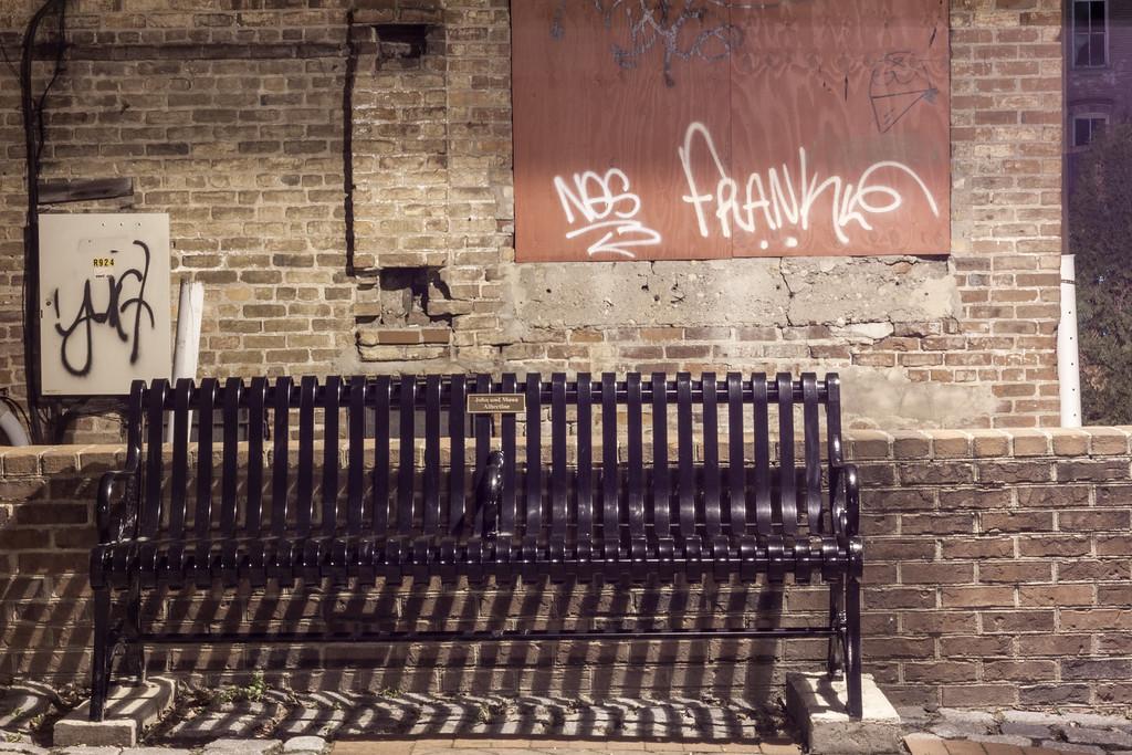 Graffiti and Bench in Market Square
