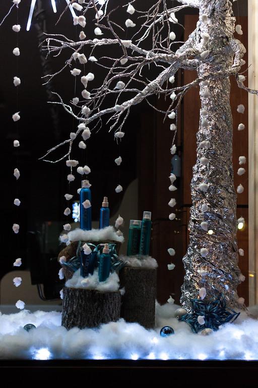 Cotton Ball Snow in a Beauty Salon Window