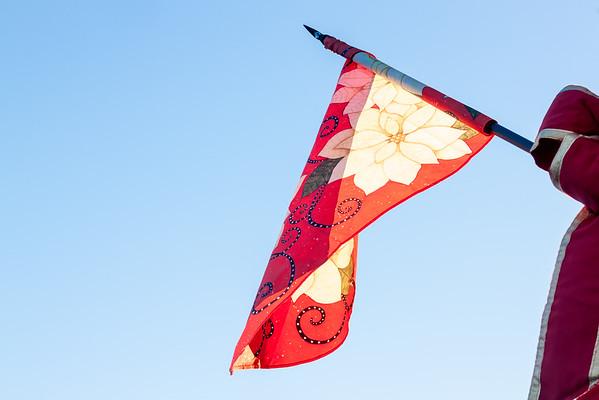 Pointsettia Flags on Lamposts