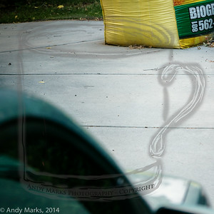 """Two cubic yards of """"Bio Grass"""" block the east end of the driveway"""