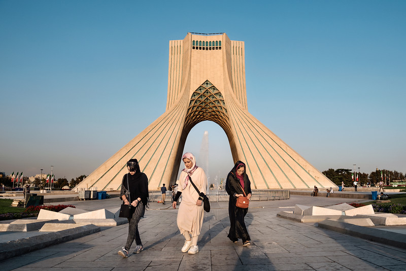August 26, 2017 – Teheran, Iran. The dominant Azadi Tower in Tehran. Built to celebrate the 2500th anniversary of the Persian Empire. © Simone Tramonte