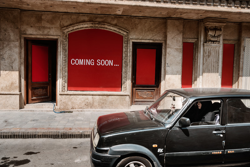 August 16, 2017 – Isfahan, Iran. Two women in their old Renault 5 driving in front of a shop opening soon in the bourgeois neighborhood of Jolfa. In contrast to countries like Saudi Arabia that prohibit women from obtaining drivers' licenses, women in Iran have been driving for many years. © Simone Tramonte