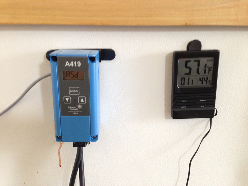 Used Velcro to hang thermostat & thermometer off the side