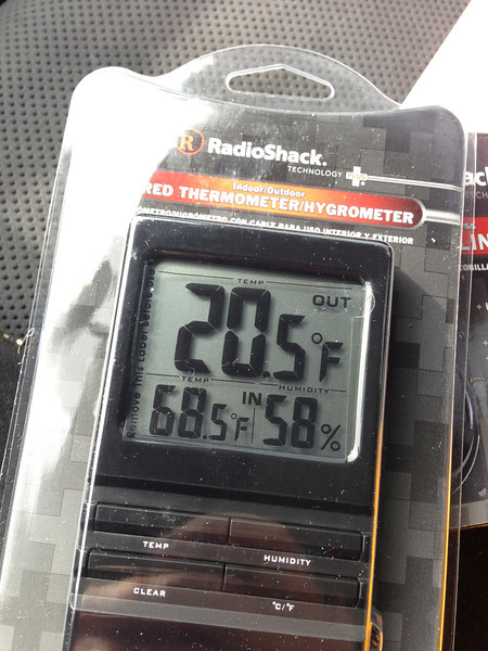 Bought this thermometer at Radio Shack to keep an eye on temps inside the Keezer