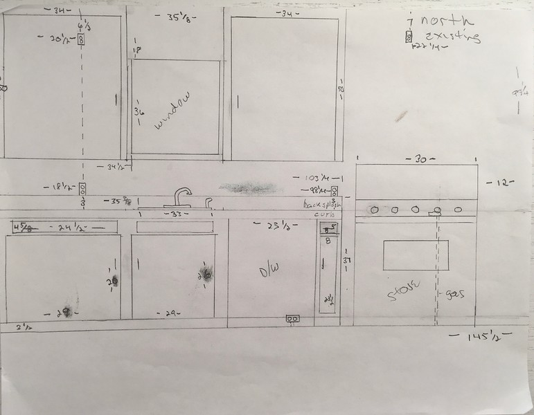 All dimensions approximate, Slater to do final room and utility measurements for accuracy.  <br /> Dimensions for left side outlet within the north side wall cabinet are taken ceiling to top of outlet cover and left wall to left edge of outlet cover.<br /> right side wall outlet, ceiling to top edge of outlet cover and right side of outlet cover to east wall.